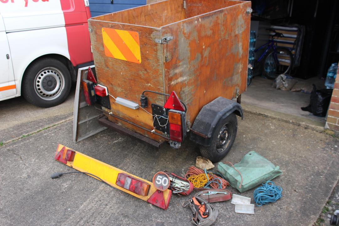 Car & Camping Trailer with Cover and ratchet strap