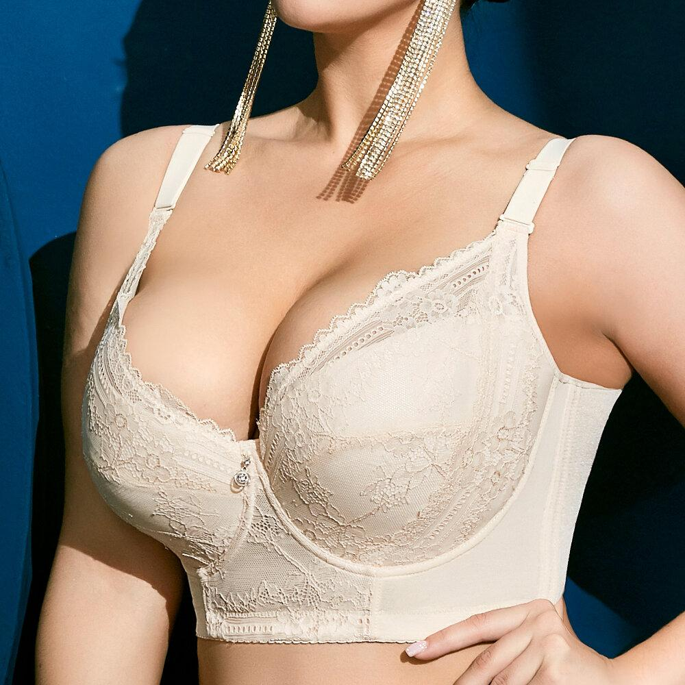 Plus Size Embroidery Gather Plunge Thin J Cup Push Up Bra Long Lined Lace Bra In Nigeria