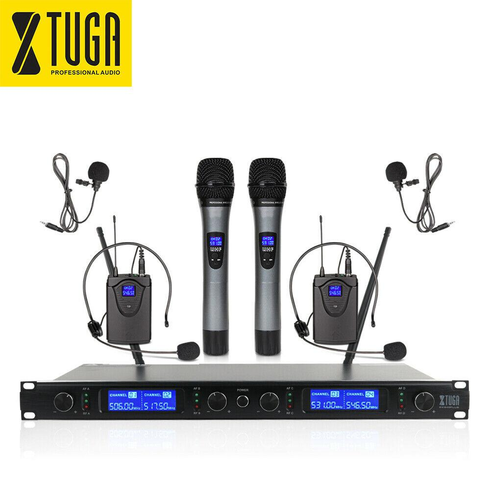 XTUGA Wireless Microphones System EW240 PLUS 4 Channel 2 Handheld 2 Bodypack Mic for sale in Nigeria